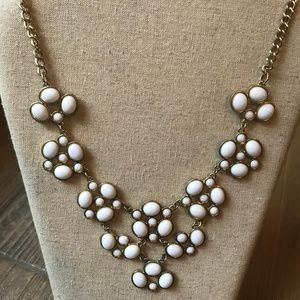 Jewelry - White and Gold Statement Necklace + Earrings